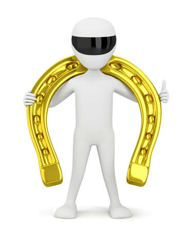 3d small people - holds a golden horseshoe. 3d image. On a white background. Stock Photo