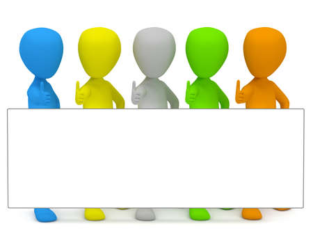 3D little colored people - advertise. 3d image. On a white background. Stock Photo