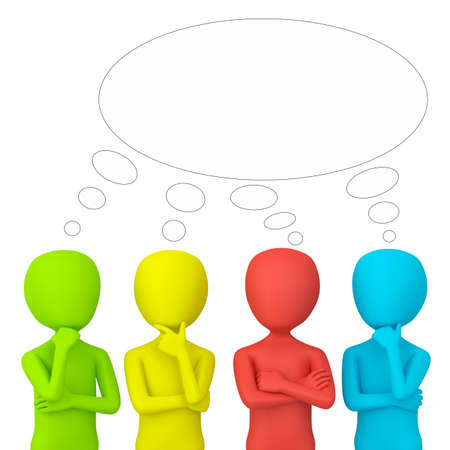 3D colorful little people - they think. 3d image. On a white background. Stock Photo