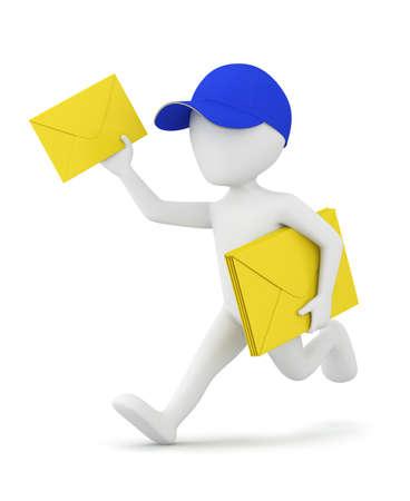 3D little man in a baseball cap runs envelopes 3d image. On a white background. Stock Photo