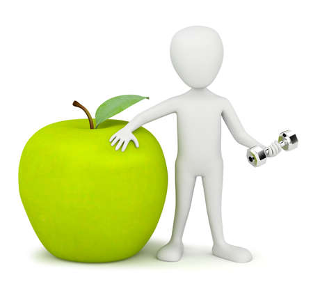 3d small person with the apple and dumbbells in hand. 3d image. On a white background.