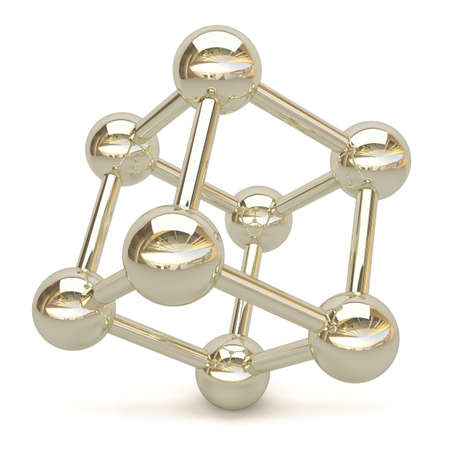 3D chroom kubus. 3d beeld. Op een witte achtergrond. Stockfoto