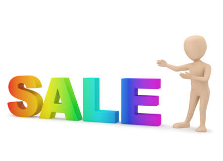 3d small people - advertises. 3d image. On a white background. Stock Photo