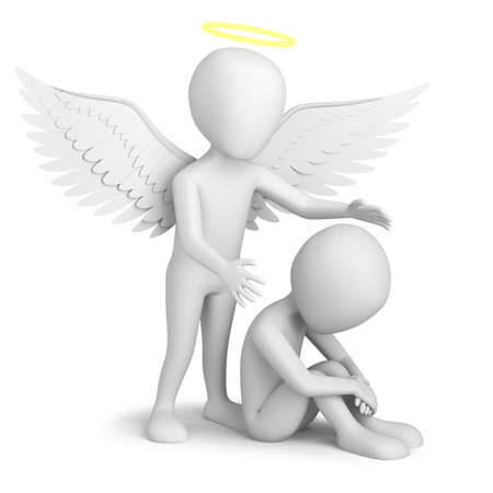 angel white: 3d small person sitting and Guardian Angel. 3d image. On a white background.