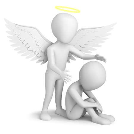 angel de la guarda: Peque�a persona 3d que se sienta y �ngel de la Guarda. Imagen en 3D. En un fondo blanco.