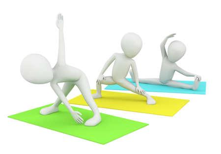 3d kleine mensen die betrokken zijn bij fitness. 3d beeld. Op een witte achtergrond. Stockfoto