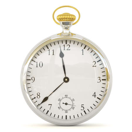 Retro clock  3D image  On a white background