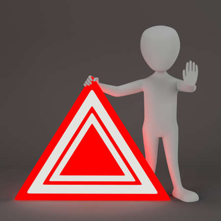3D small people - emergency sign  3D image