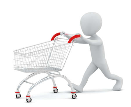 3d small people - shopping cart 3D image  On a white background