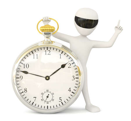 3D little man- retro watch  3D image  On a white background