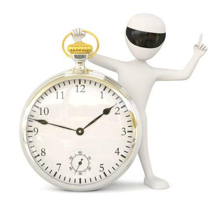 Beeld 3D kleine man-retro horloge 3D op een witte achtergrond