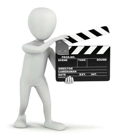3D small people - cinema clapper  3D image  On a white background