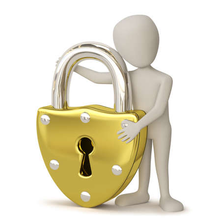 3D small people - Golden padlock  3D image  On a white background