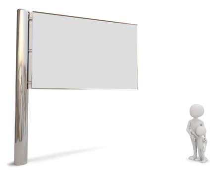 3D kleine mensen kijken naar het billboard 3D-beeld op een witte achtergrond Stockfoto