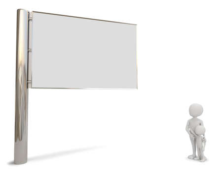 3d small people: 3D small people look at the billboard  3D image  On a white background