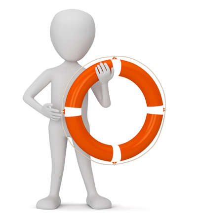 3D small people - a lifebuoy  3D image  On a white background