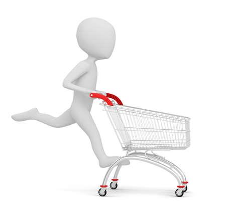 3d kleine mensen - shopping 3D beeld winkelwagen Op een witte achtergrond