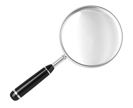 Magnifier  3D image  On a white background