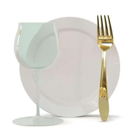 Fougères, een plaat 3D-beeld op een witte achtergrond een vork en