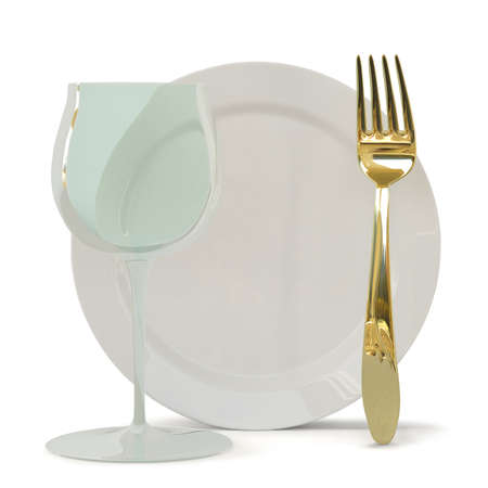 Fougeres, a fork and a plate  3D image  On a white background  Stock Photo