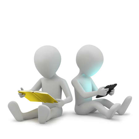 3d small people with a book and a tablet PC  3D image  On a white background  Stock Photo