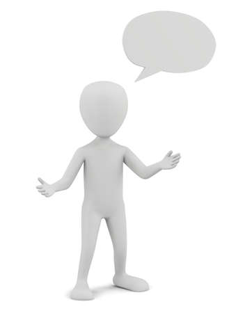 3d small person with empty chat bubble  3D image  On a white background