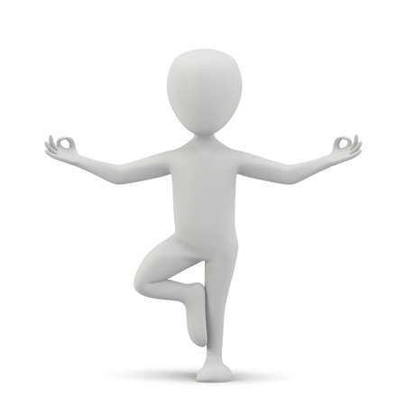 3D small people. Meditating.3d image. On a white background. Stock Photo