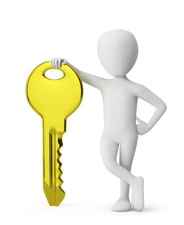 3D man met een kleine gouden sleutel. 3d beeld. Op een witte achtergrond.