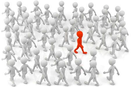 3D kleine mensen - een onderscheidt zich van de menigte. 3d beeld.