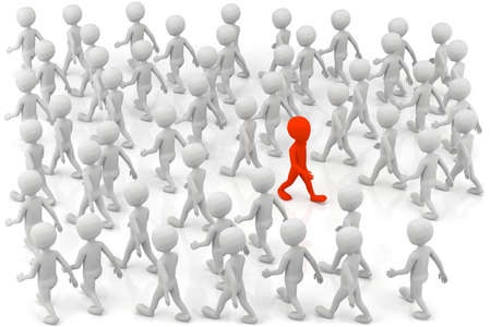 3D small people - one stands out from the crowd. 3d image. Stock Photo