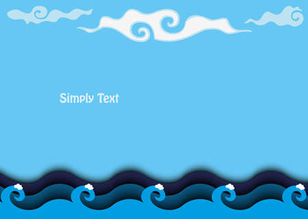 Cartoon background sea with clouds