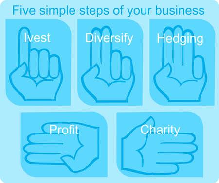 5 simple steps of your business Ilustração