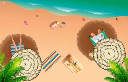Realistic summer beach of sea side with a family paty Ilustração