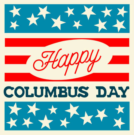 Vintage Style Vector Illustration - Happy Columbus Day