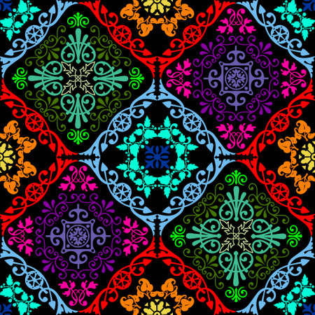 Fusion of old damask ornament with fluorescent colors