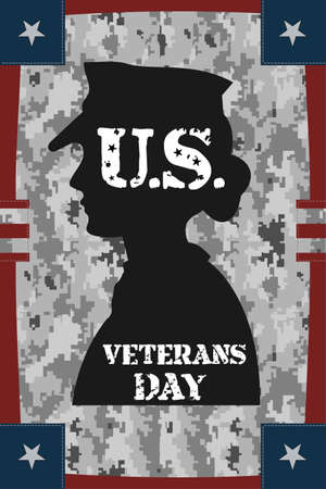 Veterans day vintage poster with pixel camouflage