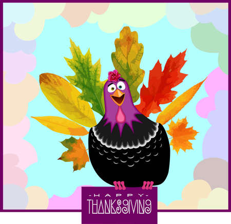 funny turkey: Thanksgiving Day Poster with Funny Turkey and falling Leafs