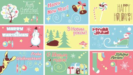 Marry Christmas New Year Holidays Humor Cards Ilustração