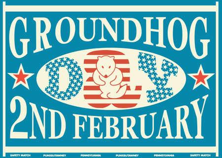 Old American Groundhog Day Vintage Match Label Ilustração