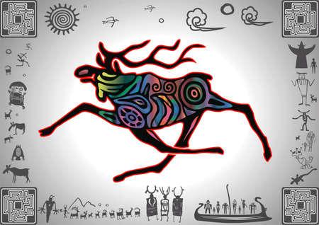 Kokopelli Glow Elk by petroglyph styled old sticker Ilustração