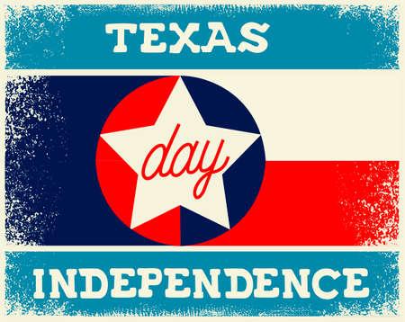 Día de la Independencia de Texas viejo cartel de la bandera de la vendimia Ilustración de vector