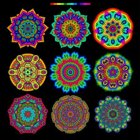 Set of 9 rainbow palette fluorescent mandalas