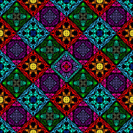 Fusion of old damask ornament with fluorescent colors and mushroom theme
