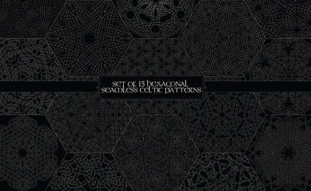 Set of 15 hexagonal seamless celtic patterns Ilustração