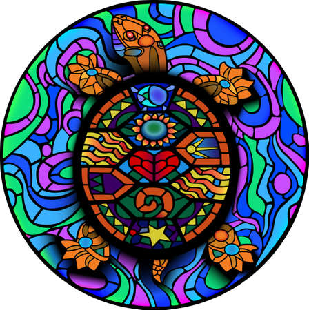 Colorful Mesoamerican Turtle old sticker style