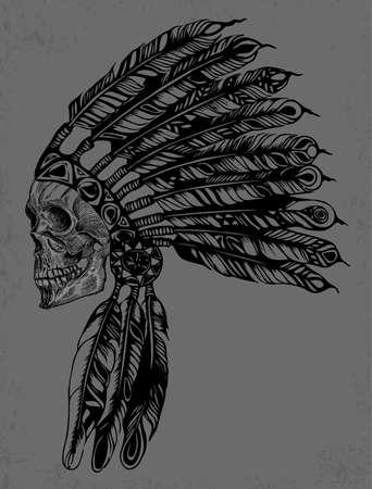iroquois: Indian Skull Vector Illustration Design for apparel Illustration