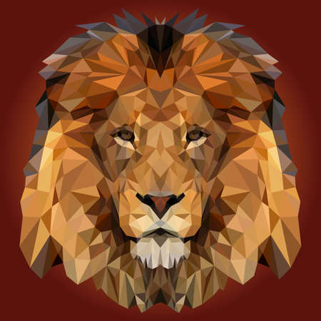 Abstract Low Poly Lion Design