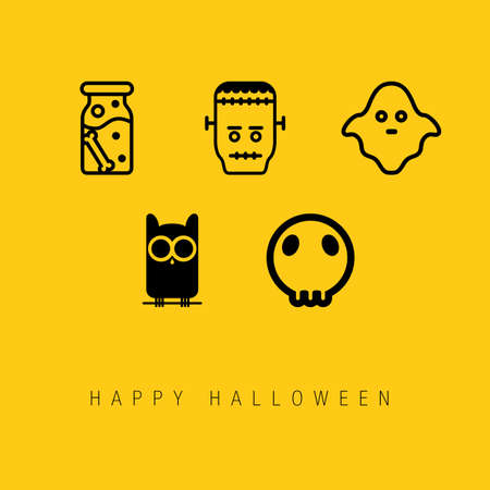 Happy Halloween Icon Set Ilustración de vector