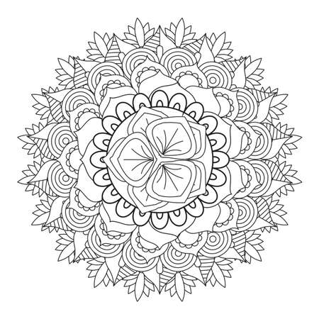 Outline Mandala for coloring book. Decorative round ornament. Stock Illustratie