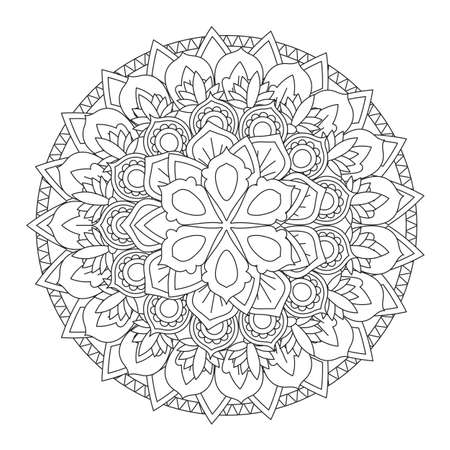 Outline Mandala for coloring book. Decorative round ornament. 일러스트